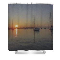 Sailboats At Sunset Shower Curtain