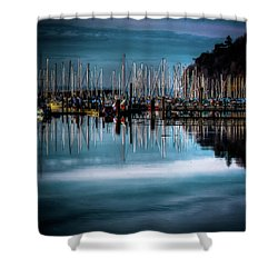 Sailboats At Sunset Shower Curtain by David Patterson