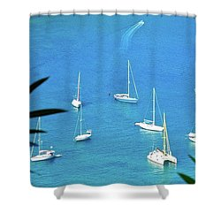 Sailboats In Antigua Harbor Shower Curtain