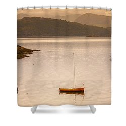 Sailboats In Fishing Village Shower Curtain