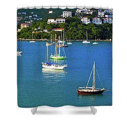 Sailboats In The Caribbean Shower Curtain