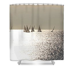 Sailboats On The Horizon Shower Curtain by Katie Wing Vigil