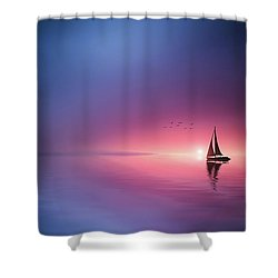 Sailing Across The Lake Toward The Sunset Shower Curtain