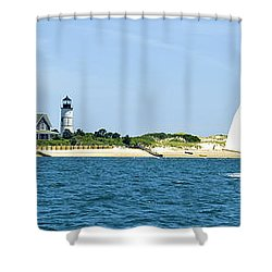 Sailing Around Barnstable Harbor Shower Curtain by Charles Harden