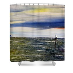 Sailing At Dusk Shower Curtain by Marilyn  McNish