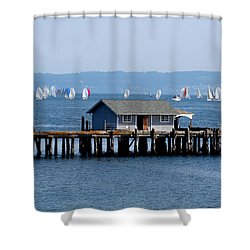 Sailing At Penn Cove Shower Curtain by Mary Gaines