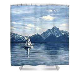 Sailing At The Grand Tetons Shower Curtain