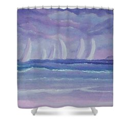 Sailing At Twilight Shower Curtain