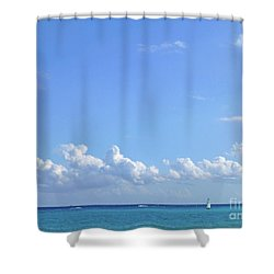 Shower Curtain featuring the photograph Sailing Blue Seas by Francesca Mackenney