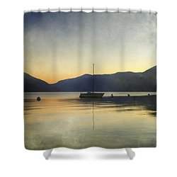 Sailing Boat In The Sunset Shower Curtain by Joana Kruse