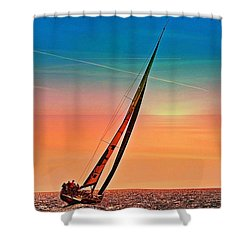 Sailing Boat Nautical 3 Shower Curtain