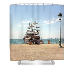 Sailing Boat With Veils In Horbour Shower Curtain