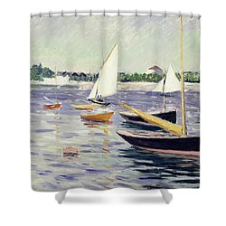 Sailing Boats At Argenteuil Shower Curtain by Gustave Caillebotte