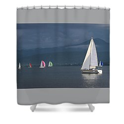 Sailing Boats By Stormy Weather, Geneva Lake, Switzerland Shower Curtain