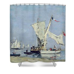 Sailing Boats Shower Curtain by Eugene Louis Boudin