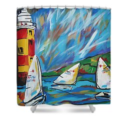 Sailing Shower Curtain by Caroline Davis