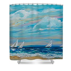 Sailing Close To The Shore Shower Curtain