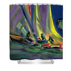 Shower Curtain featuring the digital art Sailing by Darren Cannell