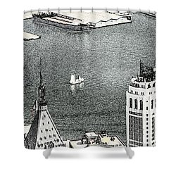 Sailing Down The East River In New York Shower Curtain