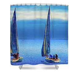 Sailing In The Blue Shower Curtain by Joseph Hollingsworth