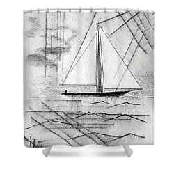 Sailing In The City Harbor Shower Curtain by J R Seymour