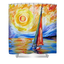 Sailing In The Hot Summer Sunset Shower Curtain