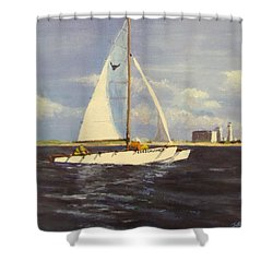 Shower Curtain featuring the painting Sailing In The Netherlands by Jack Skinner