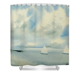 Sailing Into A Calm Anchorage Shower Curtain