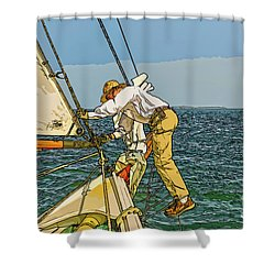 Sailing-not For Wimps-abstract Painting Shower Curtain