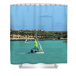 Sailing On A Sunny Day Shower Curtain by Stephan Grixti