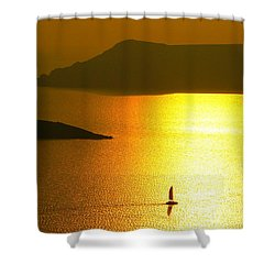 Sailing On Gold 1 Shower Curtain by Ana Maria Edulescu