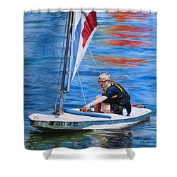 Shower Curtain featuring the painting Sailing On Lake Thunderbird by Joshua Martin