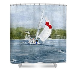 Shower Curtain featuring the painting Sailing On Niagara River by Melly Terpening