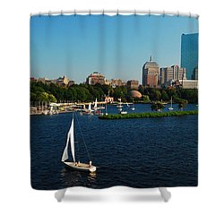 Sailing On The Charles Shower Curtain by James Kirkikis