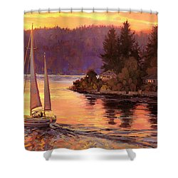 Shower Curtain featuring the painting Sailing On The Sound by Steve Henderson
