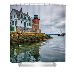 Shower Curtain featuring the photograph Sailing Past The Breakwater by Rick Berk