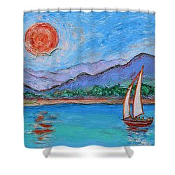 Shower Curtain featuring the painting Sailing Red Sun by Xueling Zou