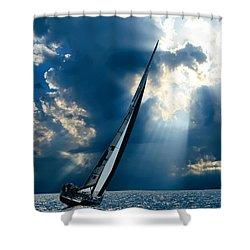 Sailing Ship . The Sea Hates A Coward.  Shower Curtain