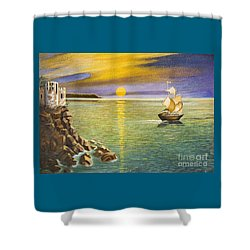 Sailing Ship And Castle Shower Curtain by Irina Afonskaya