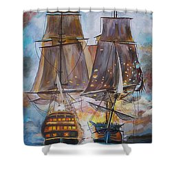 Sailing Ships At War. Shower Curtain