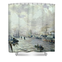 Sailing Ships In The Port Of Hamburg Shower Curtain by Carl Rodeck