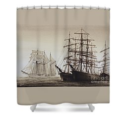 Sailing Ships Shower Curtain by James Williamson