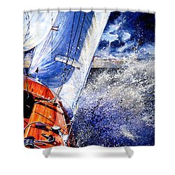 Shower Curtain featuring the painting Sailing Souls by Hanne Lore Koehler