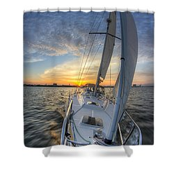 Sailing Sunset Sailboat Fate Charleston  Shower Curtain