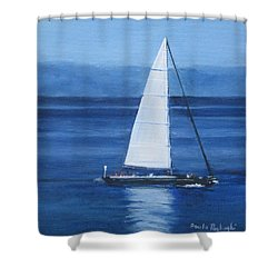Sailing The Blues Shower Curtain