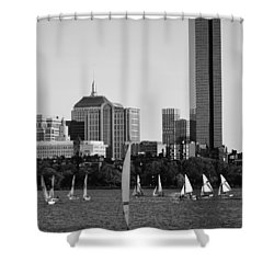 Sailing The Charles River Boston Ma Black And White Shower Curtain