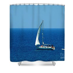 Sailing The Deep Blue Sea Shower Curtain by Sue Melvin