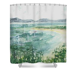 Shower Curtain featuring the painting Sailing The South Of France by Reed Novotny