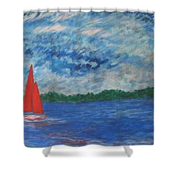 Sailing The Wind Shower Curtain by John Scates