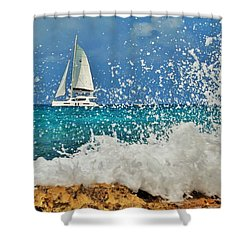 Sailing Through The Sea Foam Shower Curtain